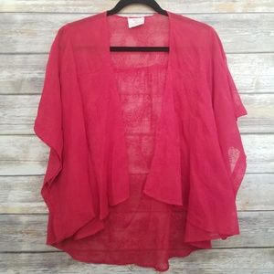 URBAN OUTFITTERS Pins & Needles Red Sheer Open Kimono Jacket Top M